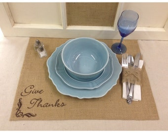 Burlap Placemats - set of 4, 6, or 8 with FINISHED edges & Give Thanks - Thanksgiving placemats Holiday decorating