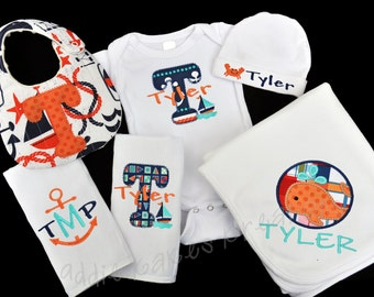 Nautical Baby Boy Gown - Nautical Baby Outfit - Nautical Gift Set - Personalized - Baby Blanket - Baby Bib - Burp Cloths - Sailboat - Whale