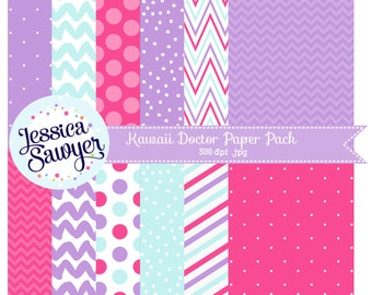 INSTANT DOWNLOAD, doctor digital papers or pink and purple backgrounds
