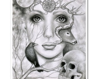 Signed 8 x 10 Print Wicked Nature Wicca Wiccan Witch Snake Charmer Skull Dark Art B. K . Lusk