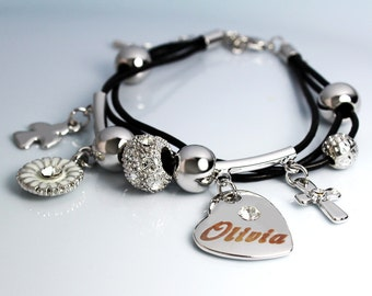 OLIVIA - Leather Bracelet With 18ct White Gold Plated Engraved Name Charm featuring Swarovski Element Crystals - Free Gift Bag & Box
