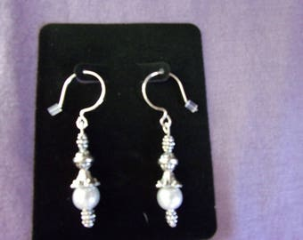 White pearl and pewter earrings on sterling silver ear wires