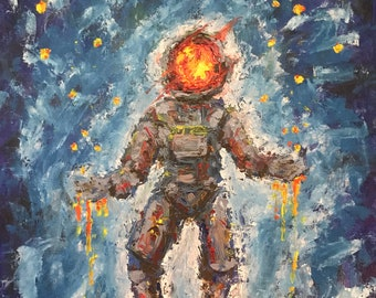 Floating Astronaut Original Palette Knife Oil Painting