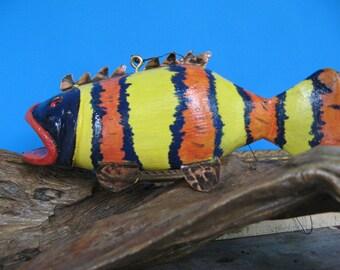 Fish wood carving whimsical folk art
