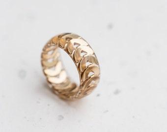 Gold Chain Resin Ring Men Women Ring Big Size Smooth Ring OOAK modern minimalist jewelry