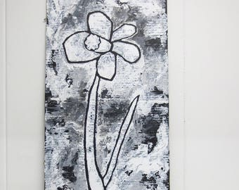 Robust and rustic painting of a daffodil flower in black and white - made on cardboard - original - ooak
