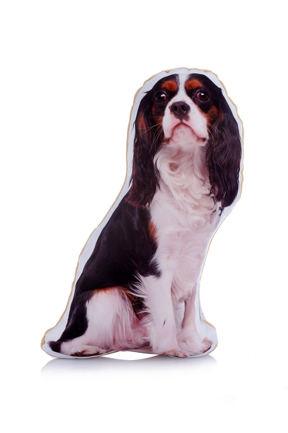 Adorable Tri Colour King Charles Cavalier Shaped Midi Cushion[AdorableCushions/Etsy]