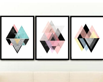 Triptych, Scandinavian Prints, Geometric Art, Printable Art, Abstract Art , Textured Art, Set of 3 Prints, Digital download,