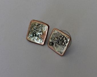 Stud earrings. Copper and silver fusion. Sterling silver.