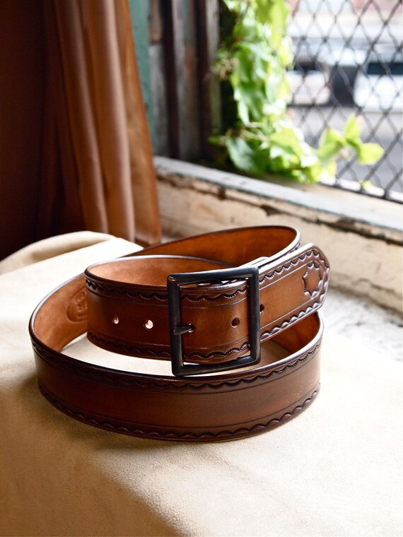 Leather tooled belt made in Brooklyn USA USA