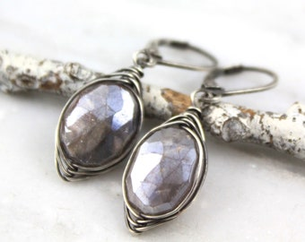 Wrapped Chocolate Moonstone Oxidized Silver Earrings