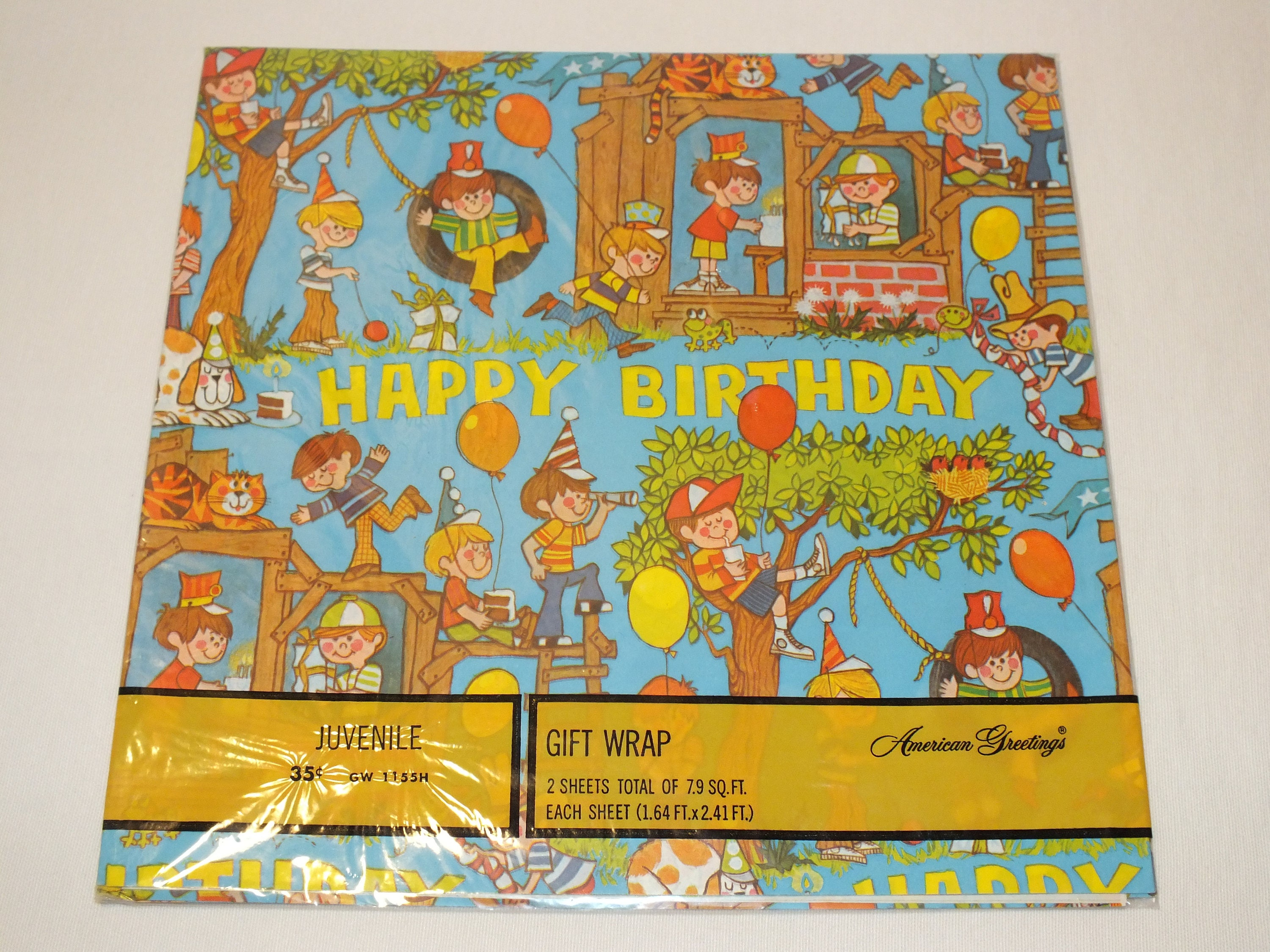 Vintage American Greetings Wrapping Paper Gift Wrap Happy Birthday