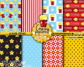 Popcorn Digital Paper, 80%OFF, COMMERCIAL USE, Popcorn Pattern, Printable Paper, Popcorn Paper, Popcorn Party, Popcorn Celebration, Movie