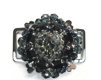 Gunmetal Heart Shaped Crystal Brooch/Buckle Black Diamond and Jet Crystal