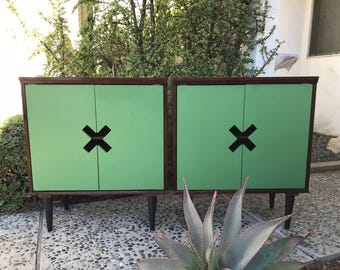 MID CENTURY MODERN Style *One Pair Available* of Green X Cabinets