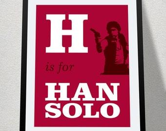 H is for Han Solo, Digital Printable, Baby Geek Nursery, Star Wars Alphabet