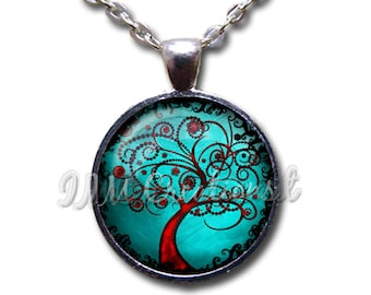 Tree of Life Turquoise Red Glass Dome Pendant or with Chain Link Necklace NT153