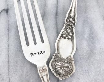 """Bride and Groom . vintage forks, hand stamped """"orange blossom"""""""