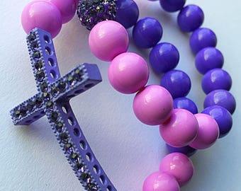 Bubble Gum/Chamballa Cross Bracelet Set