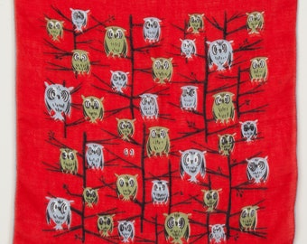 1950's Owls on a Tree Print Scarf