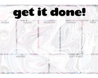 marble weekly planner notepad