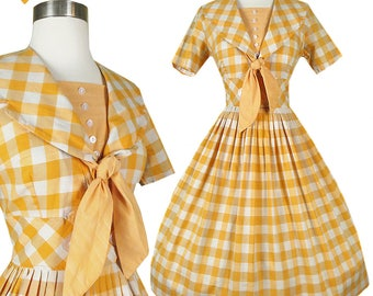 Vintage 50s Dress // Orange Check Plaid Cotton Full Skirt S M Rockabilly Pinup Day Swing Dance 1950s Sailor Collar Party