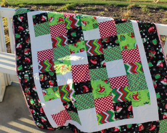 Handmade Quilt- Quilt for Christmas-Throw Quilt-Holiday Quilt-Modern Quilt