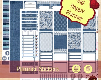 Denim and Lace|Blue Jeans|Big Happy Planner Stickers|Weekly Kit Sticker|Create365|MAMBI