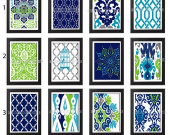Turquoise Navy Chartreuse Grey  Damask Art Print  - Set of Any (4) 5x7 Unframed Art Print, Custom Colors Sizes Available