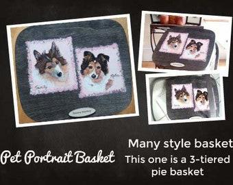 Basket,pet portrait basket,dog portrait basket, pie basket,painted basket lid,storage basket,pet toy basket,picnic basket,