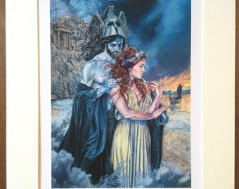 Hades and Persephone Print - Greek Mythology 10 x 12 inches