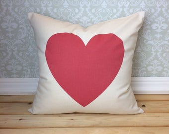Red Heart  Pillow Cover, Valentine Pillow, Heart Pillow, Valentines Day Gift, Home Decor, Romantic Pillow