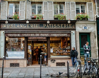 Paris Photography - Le Marais Boulangerie - Fine art travel photography - windowboxes, bikes, street scene - grey, brown, teal
