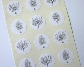 Winter Trees Stickers One Inch Round Seals