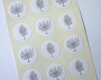 Winter Trees Stickers One Inch Round Seals