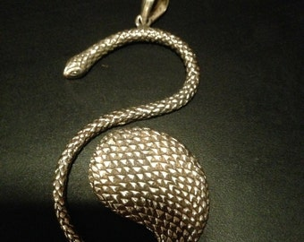 On sale - Silver plated snake pendant- Serpent pendant