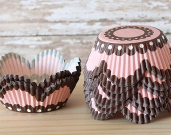 Pink and brown cupcake liners set of 25