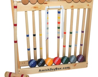 Deluxe 8-Player Wooden Croquet Game Set, Amish-Made