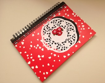 Notebook,blank notebook,school journal,travel journal,notebook journal,spiral notebook,sketchbook,diary,lined pages, red notebook