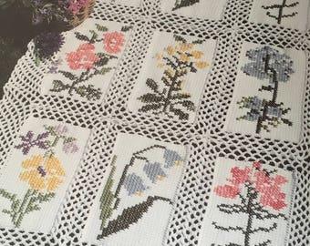 PDF Crochet/Cross-Stitch Flower Garden Afghan