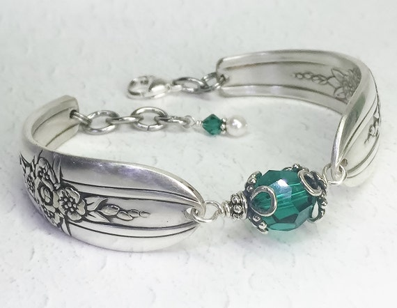 Spoon Bracelet, Emerald Green Crystals, Spoon Jewelry 'Triumph' 1941