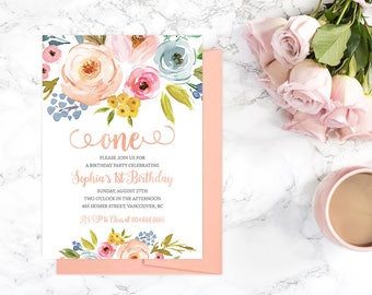 1st Birthday Invitation, Floral 1st Birthday Invitation, Girl First Birthday Invitation, Kids Birthday Invitation, First Birthday Party