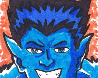 """Beast X-Men ACEO trading card 2 1/2"""" x 3 1/2"""""""