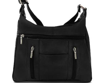 Black Soft Leather Shoulder Purse