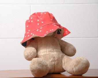 Reversible Sun Hat - Certified Organic Cotton - Tomato with Wink & Natural / Baby Sunhat / Toddler sunhat / baby summer hat /