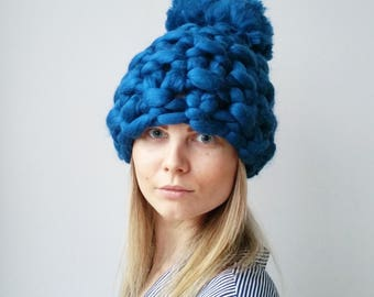 Winter Hat Luxury Royal Blue Christmas Chunky Knit PomPom