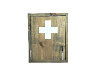 Grey Medicine Cabinet, Wood First Aid Box, Wall Mount Emergency Supply  Cabinet With White