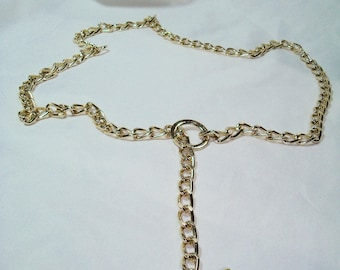 Shiny Vintage Golde Tone Like Belt with Toggle Clasp.