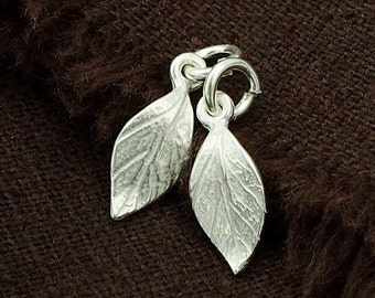 2 of 925 Sterling Silver Leaf Charms  6x11mm.,Tiny Leaf Charms  :th2165
