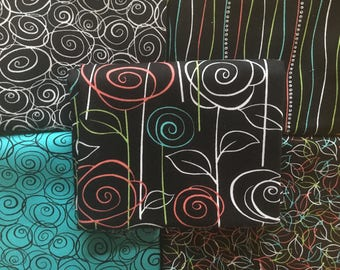 Not Your Garden Variety Bundle from Quilting Treasures - 5 Fat Quarters or Half Yards of swirly flowers and stems in black, white, and aqua